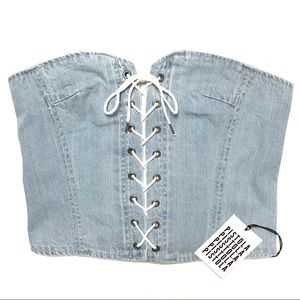 Pistola Lace-Up Denim Corset Top in All Tied Up M